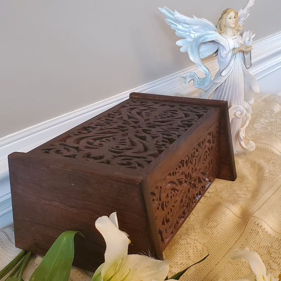 Urns for Human Ashes Handcrafted from Cherry Wood, Elegant Carved Box For Cremation Ashes Adult