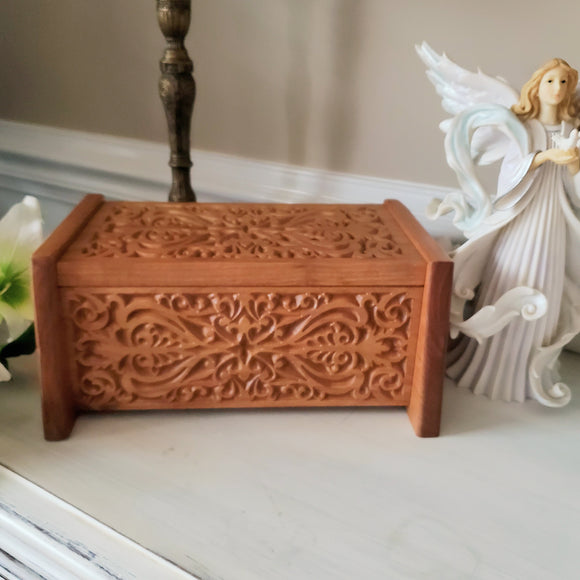 Urns for Human Ashes Handcrafted from Cherry Wood, Elegant Carved Box For Cremation Ashes Adult Light Finish
