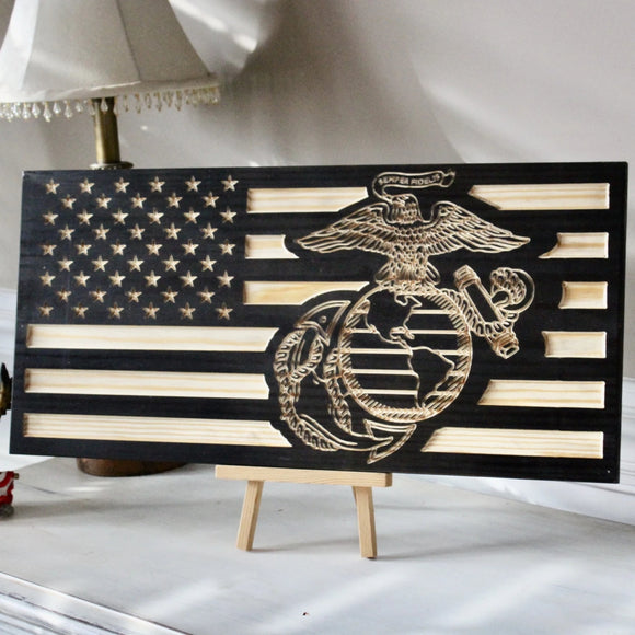 carved wood usa flag USMC