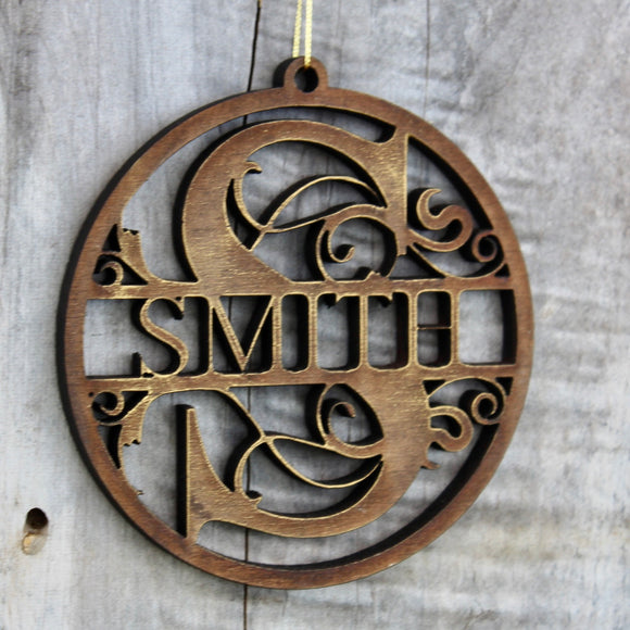 Split Monogram Christmas Ornament Made of Wood