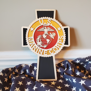 USMC Cross Wall Hanging with EGA Made of Wood, Gift For Active Service Member or Veteran