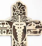 Medical Worker Cross Made Of Wood