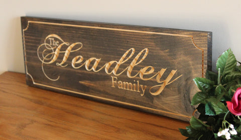 Personalized Last Name Carved Wood Sign