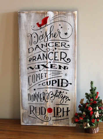 Rudolph The Red Nosed Reindeer Wood Carved Sign