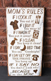 Mom's Rules Rustic Wood Sign