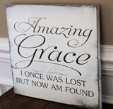 Amazing Grace, I once was lost but now I'm found rustic reclaimed wood wall art