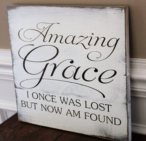 amazing grace sign; amazing grace i once was lost but now am found ... & Amazing Grace Wall Art Hand Painted Wood Sign Gifts For Christian ...
