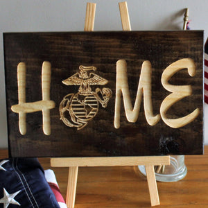 USMC Home Sign,  Carved Sign, Wood sign
