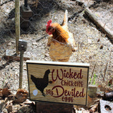Wicked chickens lay deviled eggs, engraved wood sign, funny kitchen signs