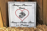 marine mom wood sign