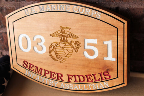 Marine Corps Carved MOS Plaque with painted letters