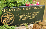 USMC Personalized Carved Boot Camp Graduation Plaque