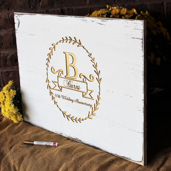 50th Anniversary Guest Book, Golden Wedding Anniversary Decorations