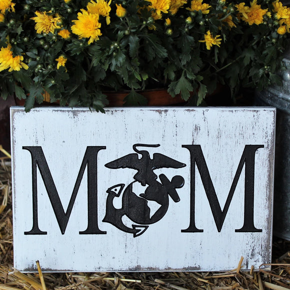 Marine Mom Rustic Wood Engraved Sign, Proud Marine Mom
