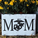 Marine Mom Rustic Wood Engraved Sign