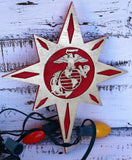 Marine Corps Christmas Tree Topper, USMC Christmas Tree Decor