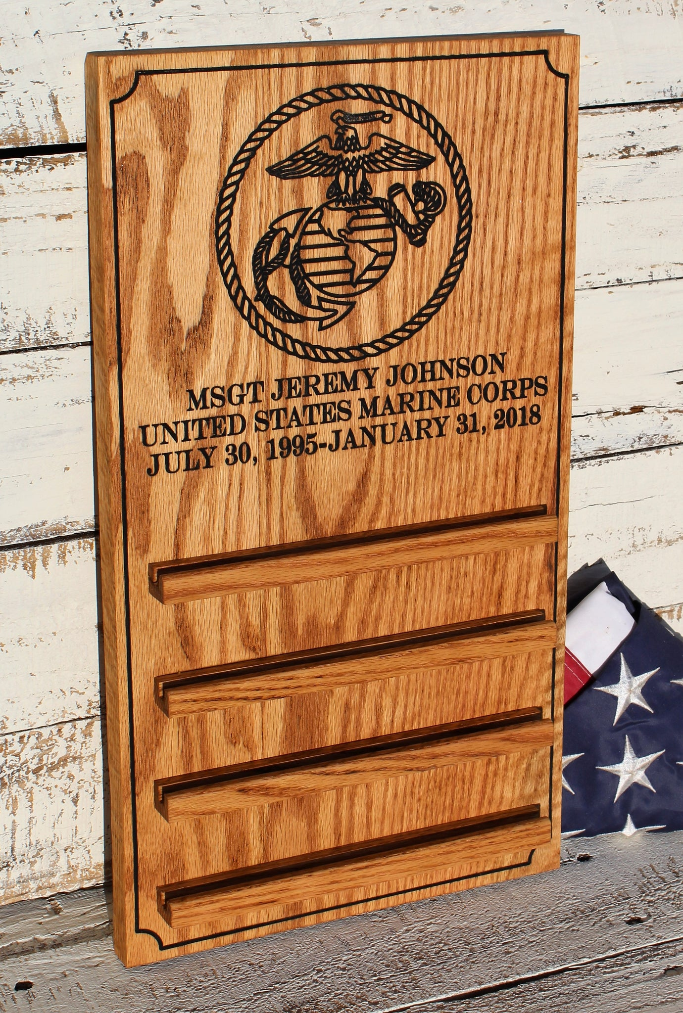 USMC Coin Holder, Personalized USMC, EGA Coin Display