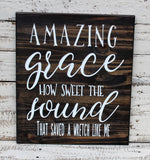 wood amazing grace sign