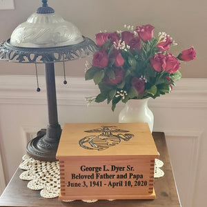 Marine Corps Urn, Wooden Box Cremation Urn for Human Ashes, Military Burial Urn