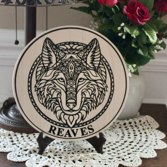 Tribal Wolf Carved Personalized Last Name Sign Made of Solid Wood