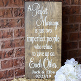 perfect marriage wood sign
