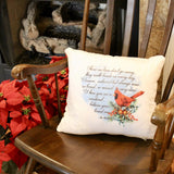 red christmas cardinal pillow
