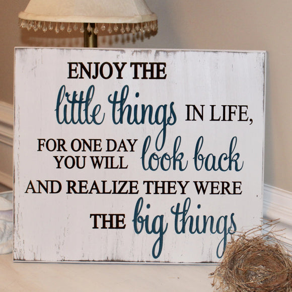 Enjoy the little things carved wood sign