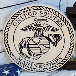 Marine Corps Carved Wood Wall Hanging With EGA