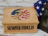 Personalized USMC Wood Keepsake Box Handmade in the USA Made Of Solid Cherry
