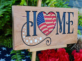 wood home sign july 4th