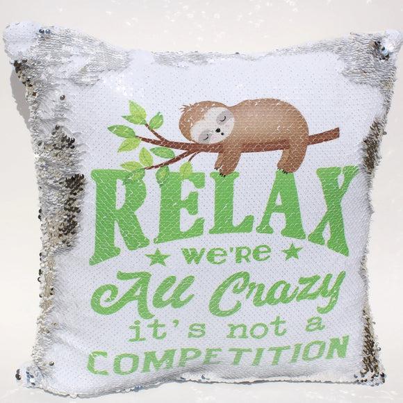sloth sequin pillow