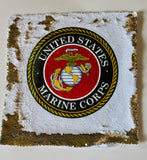 Marine Corps Sequin Pillow - Gold and White - USMC Pillow - Gift For Military