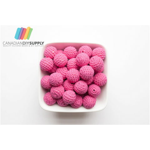 Bright Pink, Wood Crochet Beads (20mm Round)