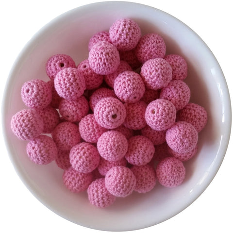 Cotton Candy Pink, Wood Crochet Beads (20mm Round)