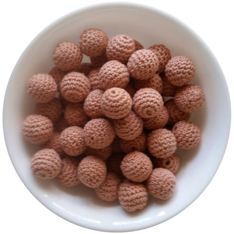 Clay Brown, Wood Crochet Beads (20mm Round)