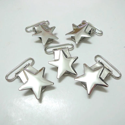 Silver Star, Metal Pacifier Clips - Canadian DIY Supply - 1