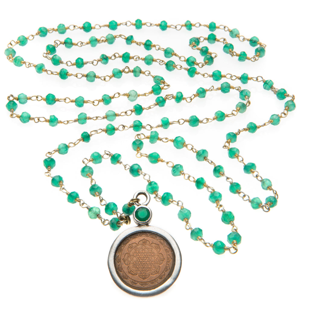 Green Onyx Sri Yantra Necklace - The Sattva Collection