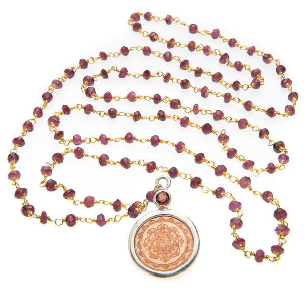 Garnet Sri Yantra Necklace - The Sattva Collection
