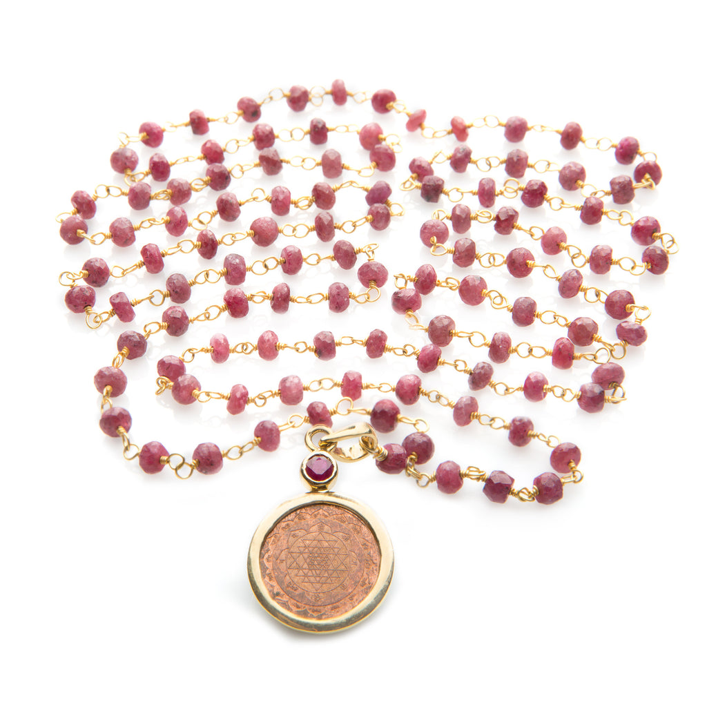 Sri Yantra Pendant Necklace on Ruby Mala