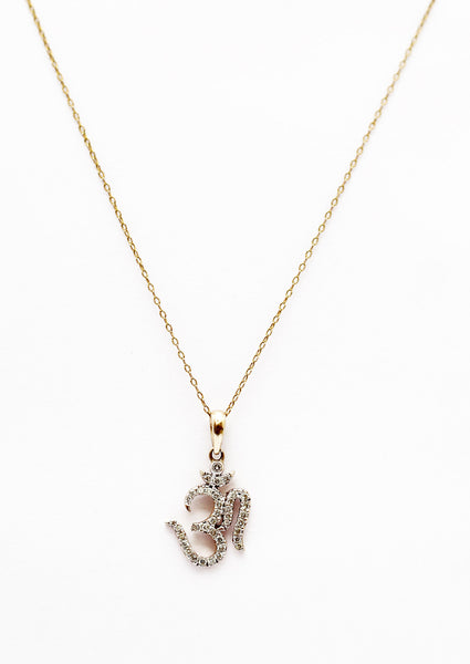 "Diamond and 14Kt Gold OM Pendant Necklace -18"" - The Sattva Collection"
