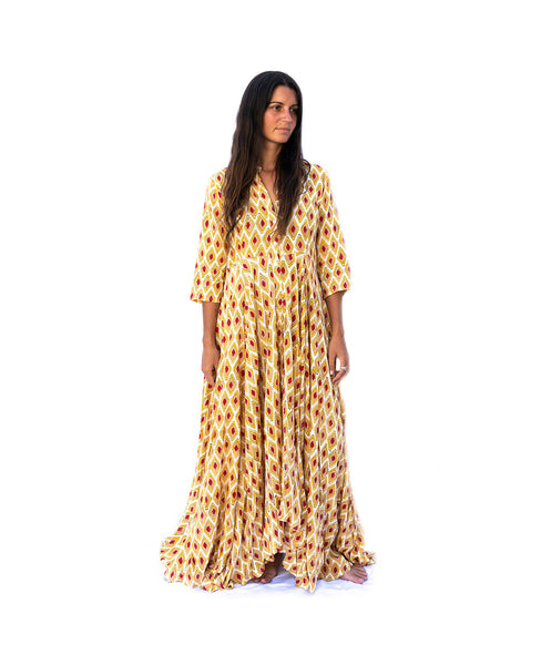 Kamala Devi Dress- Yellow - The Sattva Collection