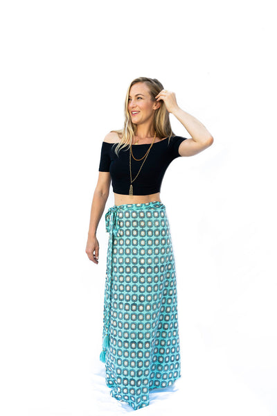 Sati Wrap Skirt- Blue - The Sattva Collection