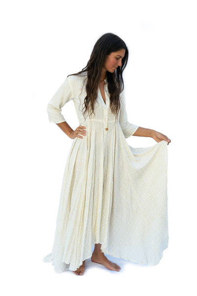 Kamala Devi Dress- White - The Sattva Collection