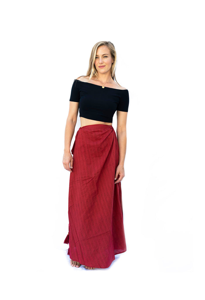 Sati Wrap Skirt- Red - The Sattva Collection