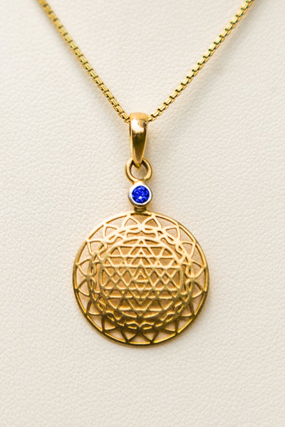 14kt Gold Sri Yantra Pendant Mounted with Blue Sapphire on 18kt Gold Chain - The Sattva Collection