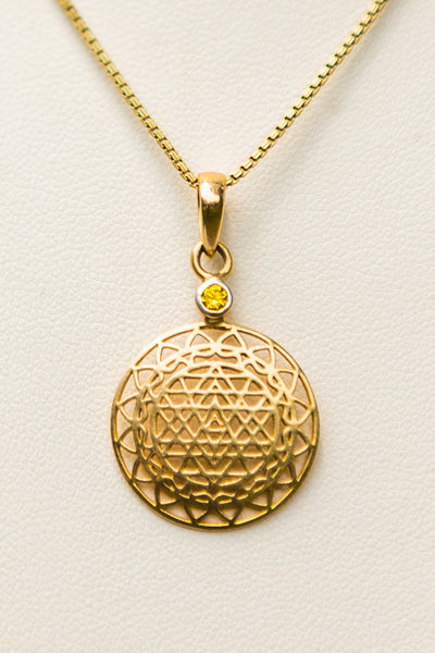 14 kt Gold Sri Yantra Pendant Necklace Mounted in Yellow Sapphire on 18kt chain