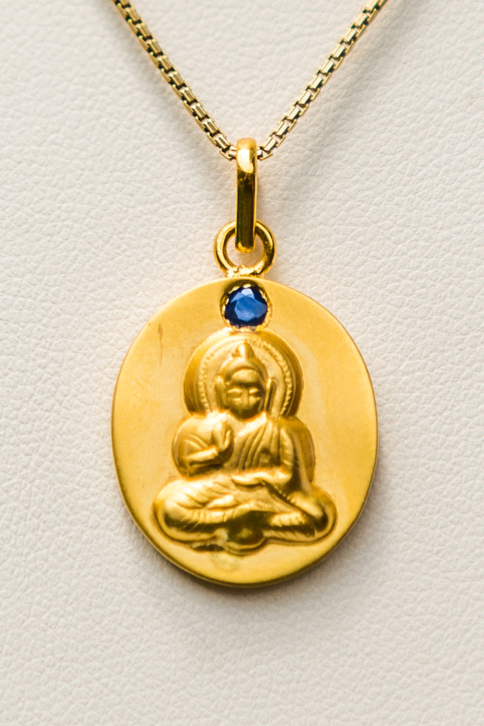 18kt Gold Buddha Pendant with Blue Sapphire Mount