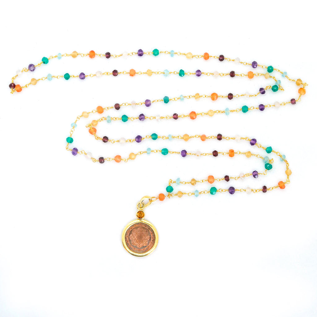 Sri Yantra Pendant Necklace 7 Chakras - The Sattva Collection