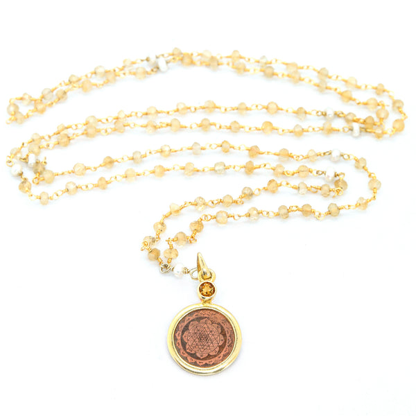 Citrine and Pearl Sri Yantra Necklace - The Sattva Collection