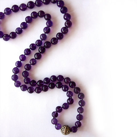 Devi Guru Bead Necklace- Amethyst